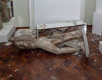 20. 4.  A marble statue of a naked young man that was on display in the permanent exhibition damaged in earthquake